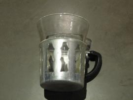 Brocante theeglashouder compleet met glas