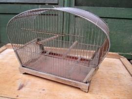 Vintage metalen vogelkooi in chroom