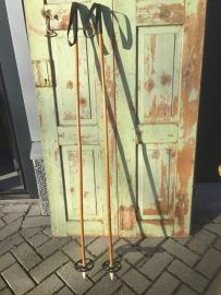 Brocante houten Zweedse skistokken