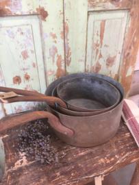 Antieke Franse koperen steelpan