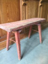 Brocant houten bankje, rood/bruin