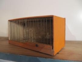 Brocante vogelkooitje in oranje