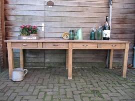 Hele oude antieke teakhouten atelier tafel