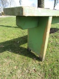 Brocante houten bank, groen