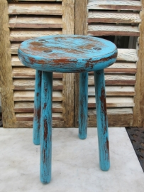 Frans brocante rond houten krukje in turquoise