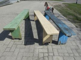 Brocante houten bank, blauw