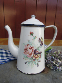 Brocante Franse bloemen koffiepot