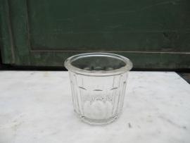Antiek Frans glazen jampotje geribbeld 250 ml