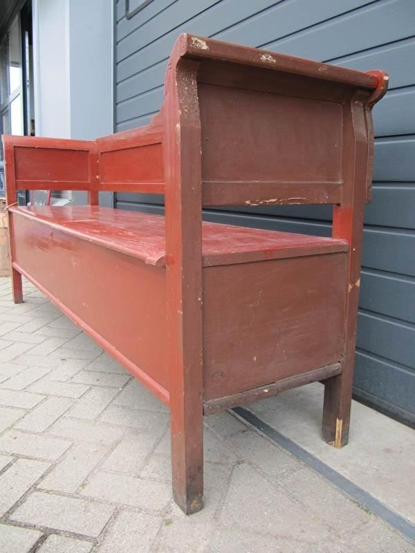 Super Antieke klepbank in rood/bruin | Recent verkocht / Sold CL-62