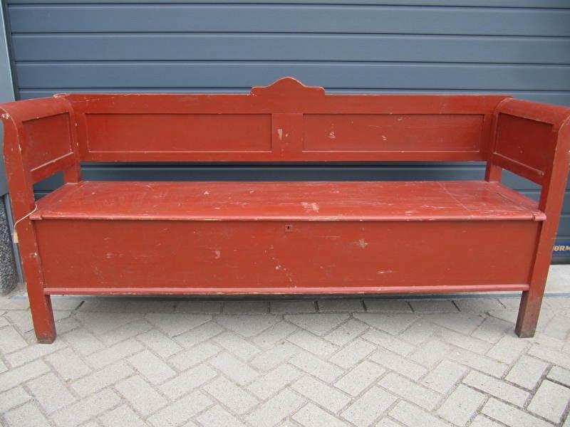 Wonderbaar Antieke klepbank in rood/bruin | Recent verkocht / Sold EV-97