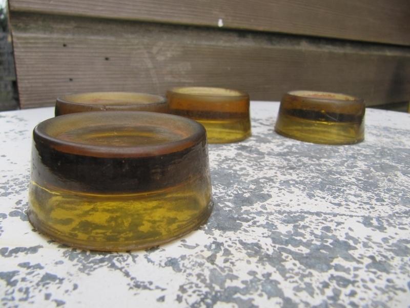 Oude brocante glazen kastonderzetters set van 4