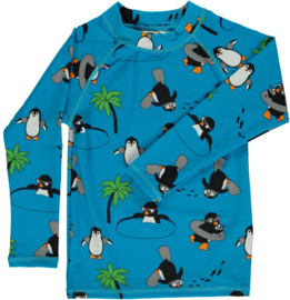 UV swimshirt LS Smafolk, Penguin ocean blue