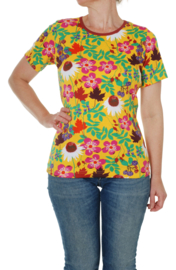 T-shirt , shortsleeve Ladies Duns Sweden, Autumn Flowers Yellow