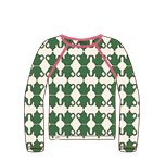 Longsleeve Ladies AiA all I adore by Alba of Denmark, Patricia Blouse Juniper Green Teapots M of L
