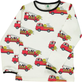 T-shirt long Smafolk, firetruck cream