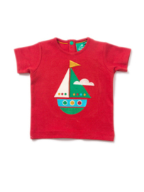 T-shirt Little Green Radicals, Little Boat Applique Tee
