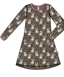 Jurk / Dress LS Maxomorra, Rabbit 92, 122-128 of 134-140