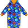 Onesie, Jumpsuit lined met hood Duns, Lost in Space blue    .     tot 128!