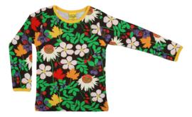T-shirt Long  Duns Sweden, Autumn Flowers Brown