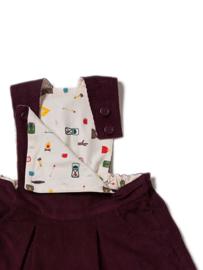 Dress, overgooier Little Green Radicals, plum Corduroy Pinafore Dress