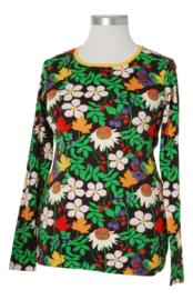 T-shirt Long Ladies  Duns Sweden, Autumn Flowers Brown size L