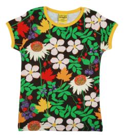 T-shirt DUNS Sweden, Autumn flowers brown