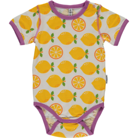 Romper Bodysuit SS Maxomorra, Lemon 62-68 of 86-92
