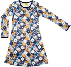Jurk / Dress LS DUNS Sweden, flower Blue 86