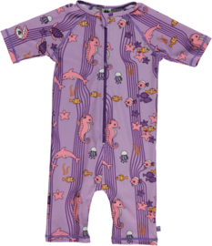 UV swimsuit Smafolk, Ocean Dolfins lila viola