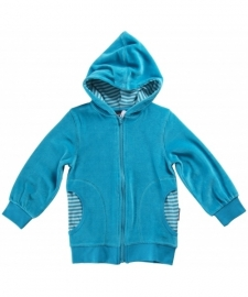 Cardigan / zip jacket Maxomorra, velour turquoise 62-68