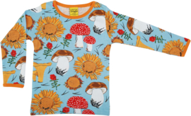 T-shirt Long  Duns Sweden, Sunflower and Mushrooms blue