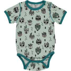Romper Bodysuit SS Maxomorra, Animal Mix  62-68