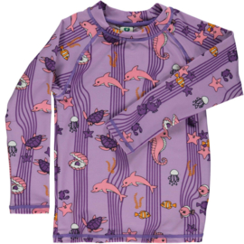 UV swimshirt LS Smafolk, Ocean Dolfins lila viola
