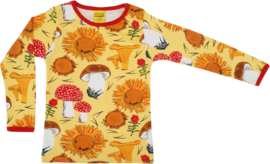 T-shirt Long  Duns Sweden, Sunflower and Mushrooms yellow