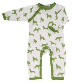 Babypakje Organics For Kids, wit met groene hondjes 6-12mnd