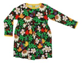 Jurk /LS gathered dress DUNS Sweden, Autumn Flowers Brown