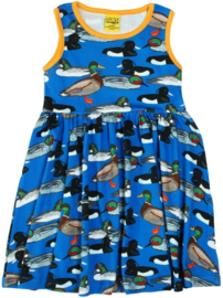 Jurk / sleeveles dress, gathered skirt,  DUNS Sweden, Duck Pond navy
