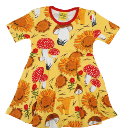 Jurk / Dress skaterdress DUNS Sweden, Sunflower and Mushrooms yellow 128
