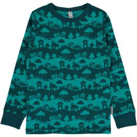 T-shirt long / longsleeve Maxomorra, Landscape turquoise mono
