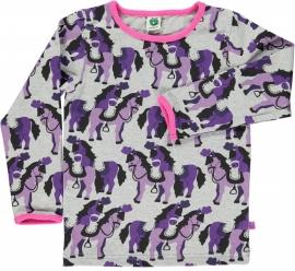 T-shirt long Smafolk, horses grey, paarden grijs
