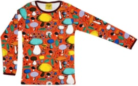 T-shirt Long  Duns Sweden, Mushroom forest dark orange