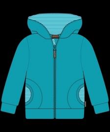 Cardigan / zip jacket Maxomorra, velour turquoise 62-68