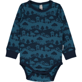 Romper / body LS Maxomorra, Landscape Blue Mono 50-56 of 62-68