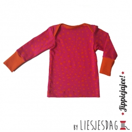 T-shirt long By Liesjesdag, stars orange pink  maat 74