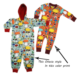 Onesie, Jumpsuit lined met hood Duns, Mushroom Forest dark orange    .     tot 128!