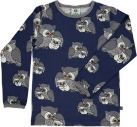 T-shirt long Smafolk, Owl Medieval blue