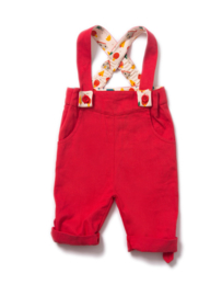 Broek met bretels Little Green Radicals, Pilar Box Red Bubble Bottoms 6-9mn