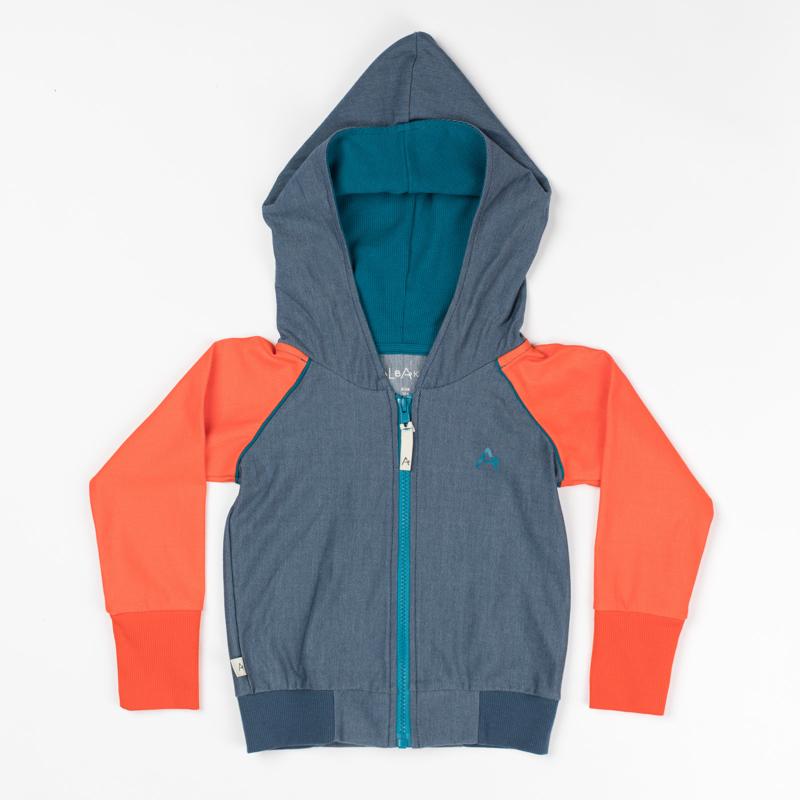 Hoodie Albababy, Adam Zipper Hood orange Dark Denim 74, 80 of 92