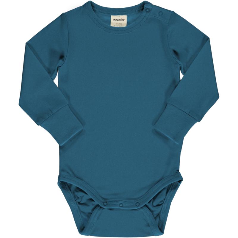 Romper / bodysuit LS Meyadey by Maxomorra,  Deep water blue