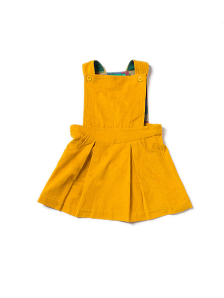 Dress, overgooier Little Green Radicals, Gold Corduroy Pinafore Dress